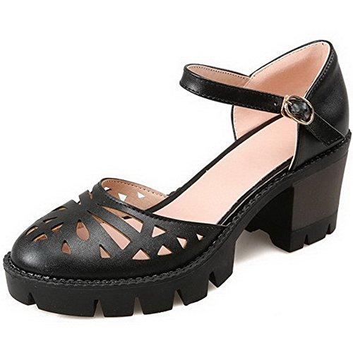Allhqfashion Womens Hoge Hakken Stevige Gesp Ronde Gesloten Teen Pumps-schoenen Zwart