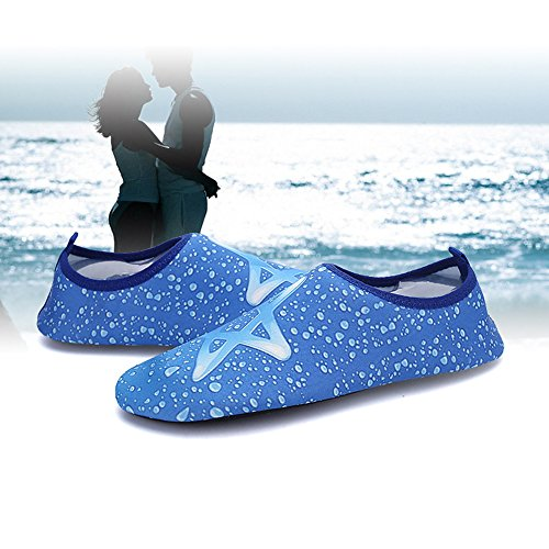 XINYI Aqua playa nadar zapatos de agua de secado rápido Slip On Piel Zapatos de Yoga calcetines para Unisex, tela, negro 1, 3XL43-44 Blue Star 3