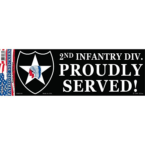 2nd Infantry Division Proudly Served Bumper Sticker - Served Bumper Division Sticker Proudly