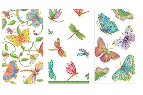 Butterfly and Dragonfly Guest Towel Set - Bundle Includes (45) Guest Towels in 3 different Butterfly and Dragonfly Designs