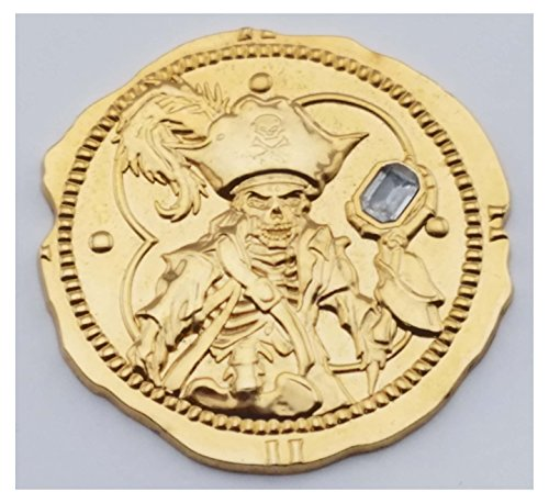 [Disney Pin - Pirates of the Caribbean - Gold Coin Pin with Diamond Stone - Used as Pictured - 47069] (Pictured Stone)