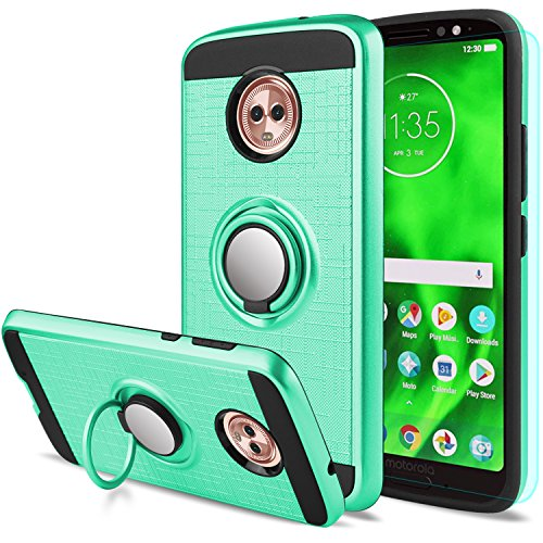 Moto G6 Case with HD Screen Protector,Anoke Motorola Moto G6 Cellphone 360 Degree Rotating Ring Holder Kickstand Full-Body Protective Cases Cover for Moto G6 ZS Mint