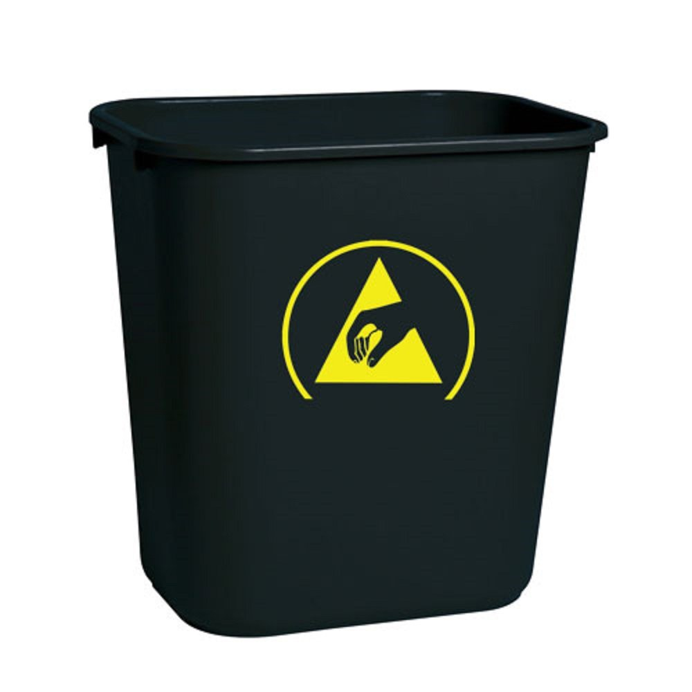 StaticTek WBAS28 Series Cleanroom ESD Accessories, Conductive Trashcan, ESD Waste Basket for ESD Safe Work Surface - 7 Gallons (28 Quart)