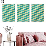 Mannwarehouse Geometric Canvas Prints Wall Art Art Deco Style Chess Table Dart Like Horizontal Vintage Image Triptych Art Set Turquoise and Pale Yellow W 16' x L 32' x3pcs