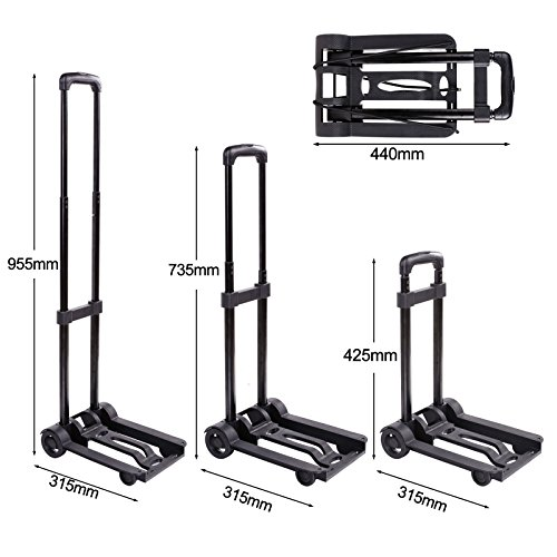 Kaluo Folding Hand Truck 90 Lbs Capacity 4 Wheels Portable Dolly Cart Hand Trolley For Luggage ,Traveling, Shopping, Moving and Office Use by Kaluo (Image #1)