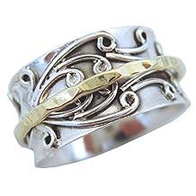 "Energy Stone ""RADHA"" Meditation Spinning Ring Brass Spinner Floral Sterling Silver Base Ring (sku# SR05)"
