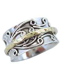 "Energy Stone ""RADHA"" Meditation Spinning Ring Brass Spinner Floral Sterling Silver Base Ring (sku# SR05)"