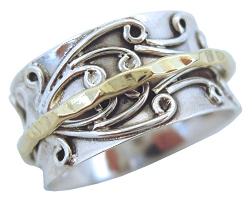 Energy Stone RADHA Meditation Spinner Ring with Brass Spinner on 3D Floral Pattern (Style #US05) ()