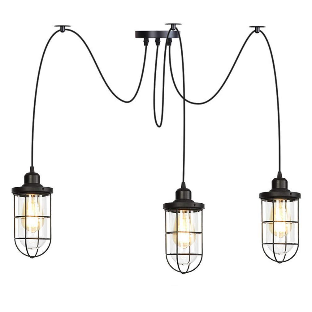 3flammig Kronleuchter DIY Decke Spider Lampe Retro Industry Ceiling Light DYI Vintage Pendelleuchte Speisesaal Schlafzimmer Hotel Dekoration,3flammig