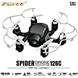 FQ777-126C FQ777 126C MINI Drone with 2MP HD Camera RC Quadcopter MODE1 & MODE2 Switch Headless 4CH 6Axis Gyro 3D-flip One-key Return Spider RC Hexacopter - Black