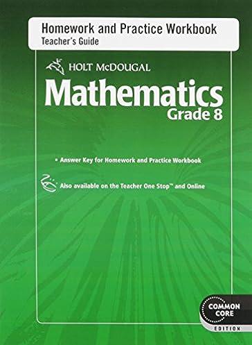 amazon com holt mcdougal mathematics homework and practice rh amazon com teacher's guide in mathematics grade 8 teacher's guide in mathematics grade 8
