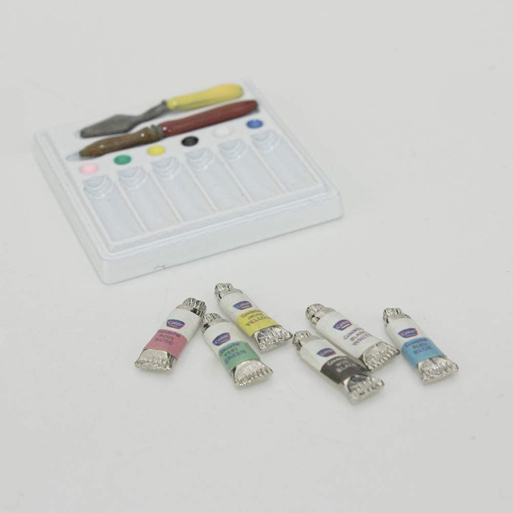 Ogquaton 1//6 1//12 Miniatures Aquarelle Peinture Ensemble doutils Maison de poup/ée Accessoires Jouets Rentable et de bonne qualit/é