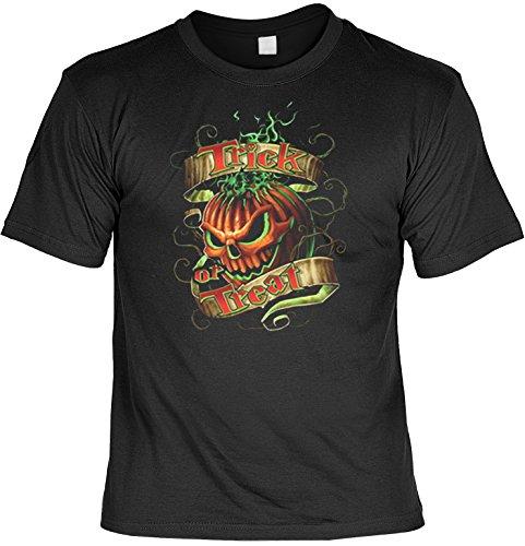 Halloween Totenkopf Clown Grusel Motiv T-Shirt : Trick or Treat - Kürbis - T-Shirt bedruckt