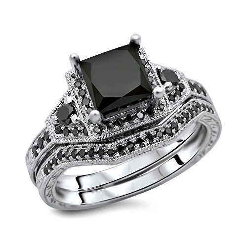 2.28CT PRINCESS ROUND BRILLIANT CUT BLACK DIAMOND 10K WHITE GOLD ENGAGEMENT WEDDING RING BAND SET,ALL US SIZE 4 TO 12 AVAILABLE