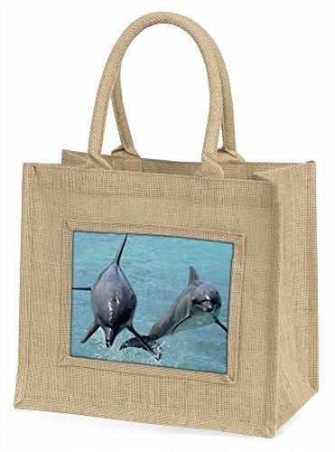 Advanta Jumping Dolphins Große Einkaufstasche/Weihnachten Geschenk, Jute, beige/natur, 42x 34,5x 2cm