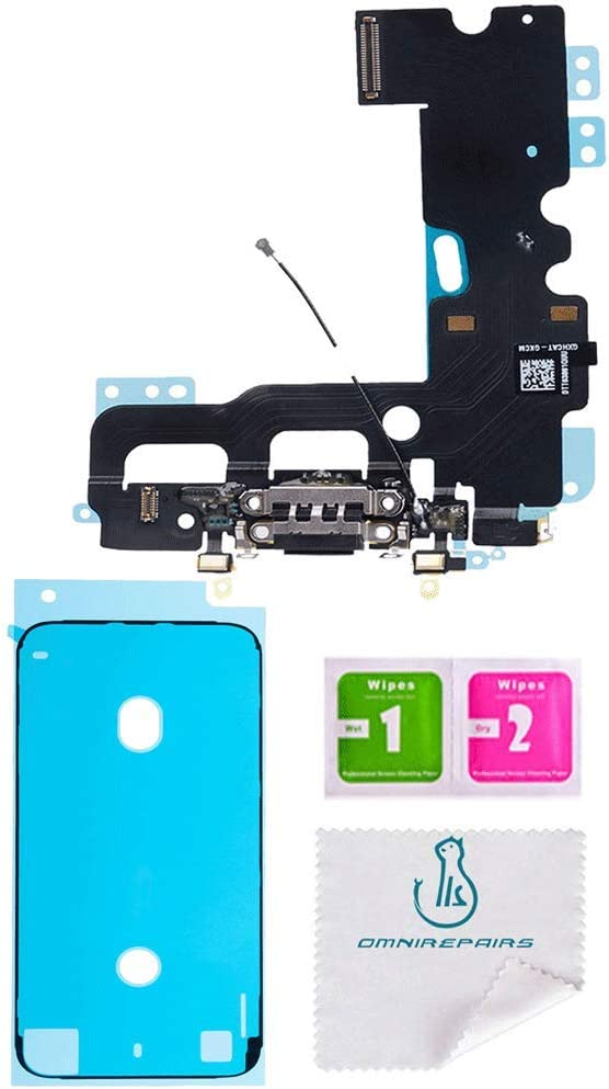 OmniRepairs Charging USB Dock Port Flex Cable Replacement with Microphone and Coaxial Antenna Compatible for iPhone 7 Model (A1660, A1778, A1779, A1780) with Adhesive (Black/Space Grey)
