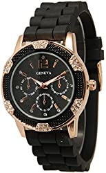 Black and Rose Gold Crystal Rhinestone Geneva Faux Chronograph Rubber Jelly Watch
