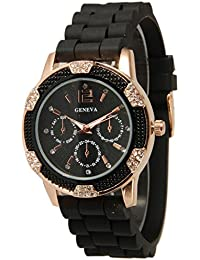 Bessky® Women's Chronograph Silicone with Crystal Rhinestones Watch