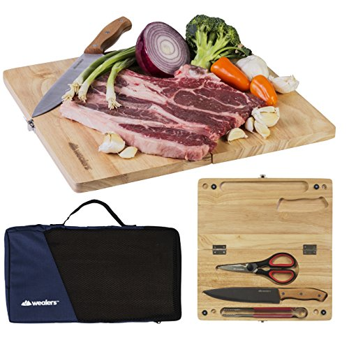 Folding Wood Cutting Board Travel Set - Portable 5 Piece Pack includes CuttingBoad | Chef Knife| Kitchen Scissors| Cooking Tongs| Tote Bag - For outdoor picnics, Camping BBQ, TailGaiting Rv Trips.