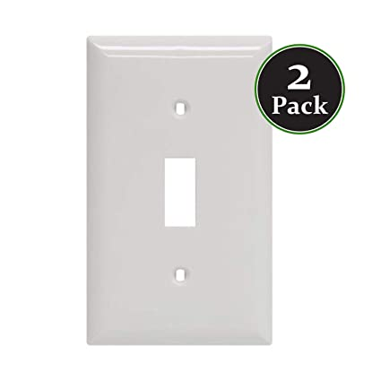 White Standard Size Single Switch Light Wallplate Mount Wall