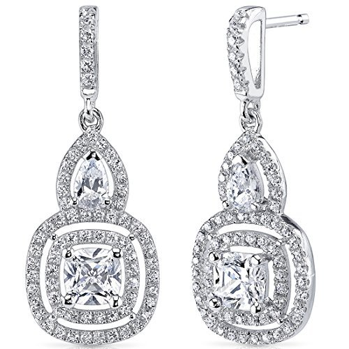 Sterling Silver Double Halo Style Cushion and Pear Cut 1.91 Carats Cubic Zirconia Earrings by Peora