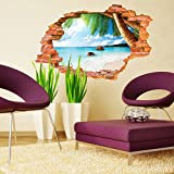Syga 3D Sea Beach Wall Stickers Beautiful Beach Wall Decals
