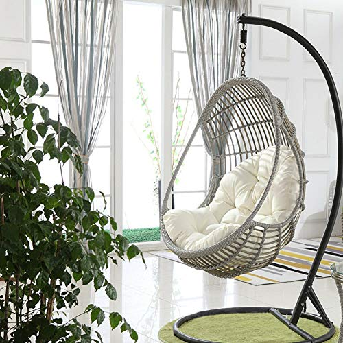 Swing Hanging Basket Seat Cushion, Thicken Hanging Egg Hammock Chair Pads Waterproof Chair Seat Cushioning for Patio Garden (Color : White, Size : 90x120cm(35x47inch)) (Swing Seats Garden)