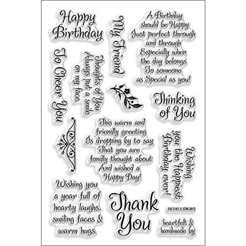 Stampendous SSC1141 Perfectly Clear Stamp, Friendly Phrases Image - Clear Rubber Stamps