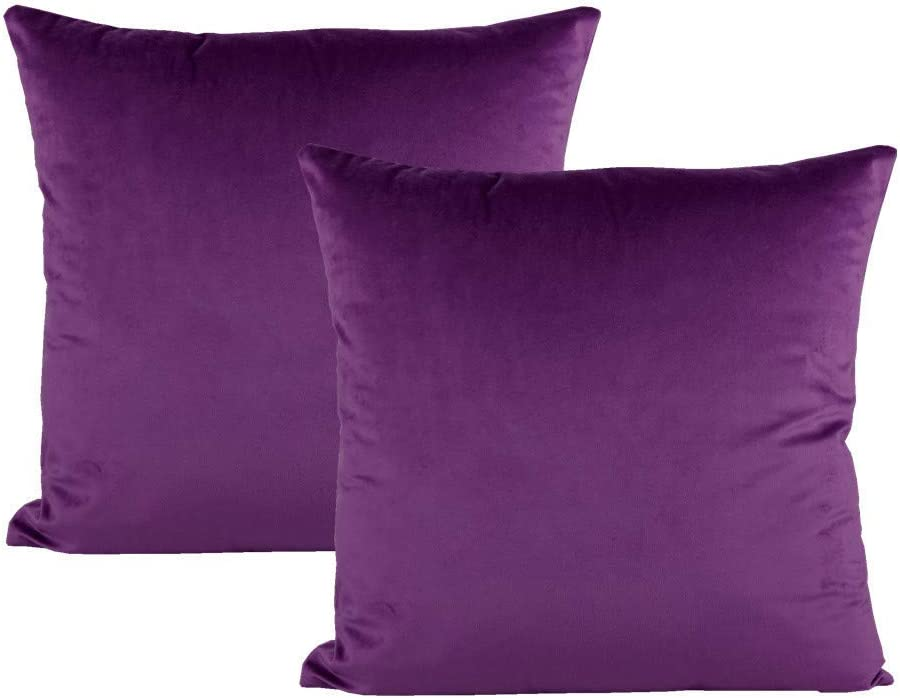 Purple Throw Pillow Covers Decorative Velvet Soft Solid Color Square Cushion Cases Home Decor for Couch Sofa Bedroom Office 18x18 Inch Set of 2