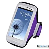 Premium Sport Armband Case for LG G4, C40 (Leon)/H320, LS885 (G3 Vigor), G3, VS450PP (Optimus Exceed 2), VS876 (Lucid 3), D415 (Optimus L90), LS740 (Volt), MS323 (Optimus L70), D820 (Nexus 5), MS500 (Optimus F6), VS980 (G2), D800 (G2) - Purple + MYNETDEALS Mini Touch Screen Stylus