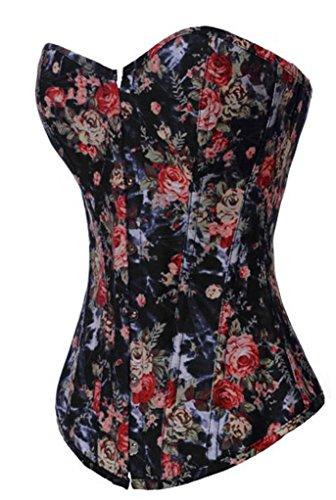 Alivila.Y Fashion Sexy Vintage Floral Denim Corset 2767-Black-L-FBA