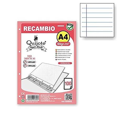 RC7686 - Recambio hojas sueltas, dos líneas, tamaño A4, 200 hojas de 90gr QUIJOTE