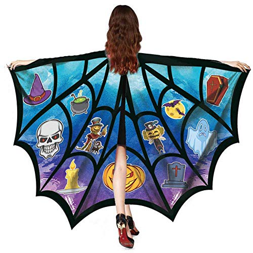 iZHH Women Men Halloween Print Bat Shawl Costume Accessory ()