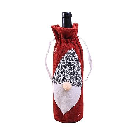 Bolsas Botella de Vino Navidad - Bolsa de Cordón Vino Tinto Botella Santa Claus