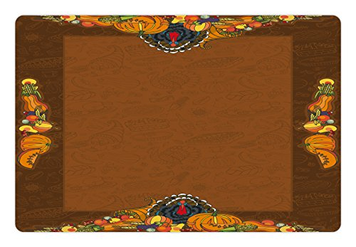 Thanksgiving Pet Mats for Food and Water by Ambesonne, Basket Harvest Pumpkin Turkey Apple Pie Fruit Vegetables Desert Dinner, Rectangle Non-Slip Rubber Mat for Dogs and Cats, Cinnamon Marigold
