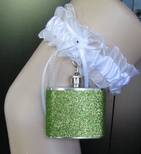(Garter Flask Lace Garter & Lime Green Glitter Sparkly Stainless Steel Liquor Hip Flask Bridesmaid Bride Wedding Party Gift )