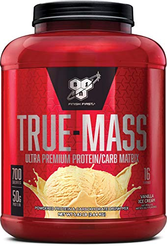 Vanilla Ice Cream Cups - BSN TRUE-MASS Weight Gainer, Muscle Mass Gainer Protein Powder, Vanilla Ice Cream, 5.82 Pound