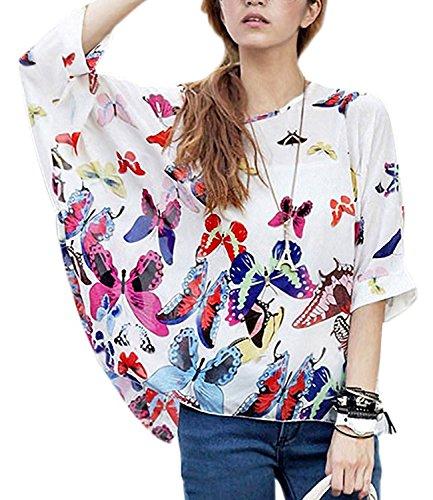 Encolure en bohme Batwing de soie hippie Femmes Blanc mousseline shirt Minetome manches ample blouse Fleurs Mode Y1aqCx7