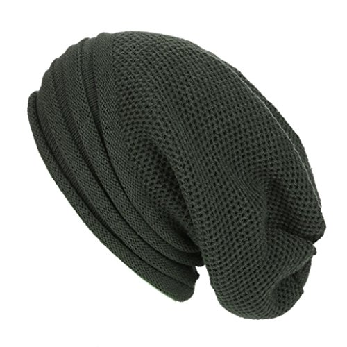 Green Wool Knit - Slouch Beanie, Forthery Mens Women Winter Ski Wool Baggy Hat Skull Beanie Toboggan Knit Hat/Cap (Army Green)