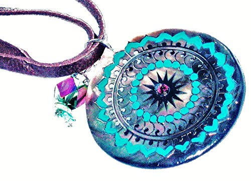 Hand Painted Pendant Necklace - Boho Jewelry for Women Double Strand Brown Leather Hand Painted Mandala Shell Pendant Necklace