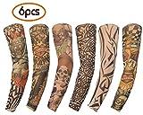 Toys : Gospire 6 Pcs Nylon Fake Temporary Tattoo Sleeves Body Art Arm Stockings Slip Accessories Tatoo Soft For Men Women