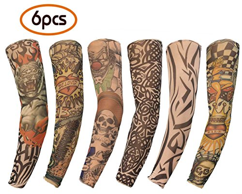 Gospire 6 Pcs Nylon Fake Temporary Tattoo Sleeves Body Art Arm Stockings Slip Accessories Halloween Tattoo Soft For Men Women - Halloween Tattoo Sleeve