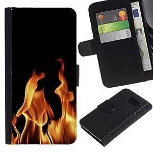 KingStore / Leather Etui en cuir / Samsung Galaxy S6 / Fuego Infierno Llamas Diablo Burning Wallpaper