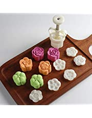 Cookie Stamps Moon Cake Mold with 50g 6 Stamps, Thickness Adjustable Christmas Cookie Press DIY Decoration Hand Press Cutter Cake Mold