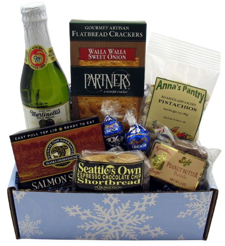 Arctic Frost Gift Box (Flowers And Wine Gift)