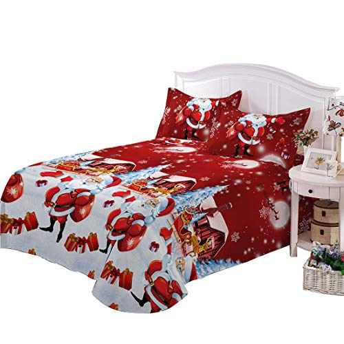 Price comparison product image Junhome Christmas Sheets Twin Kids Sheet Set Twin Red Cartoon Santa 3 Piece Bedding Set