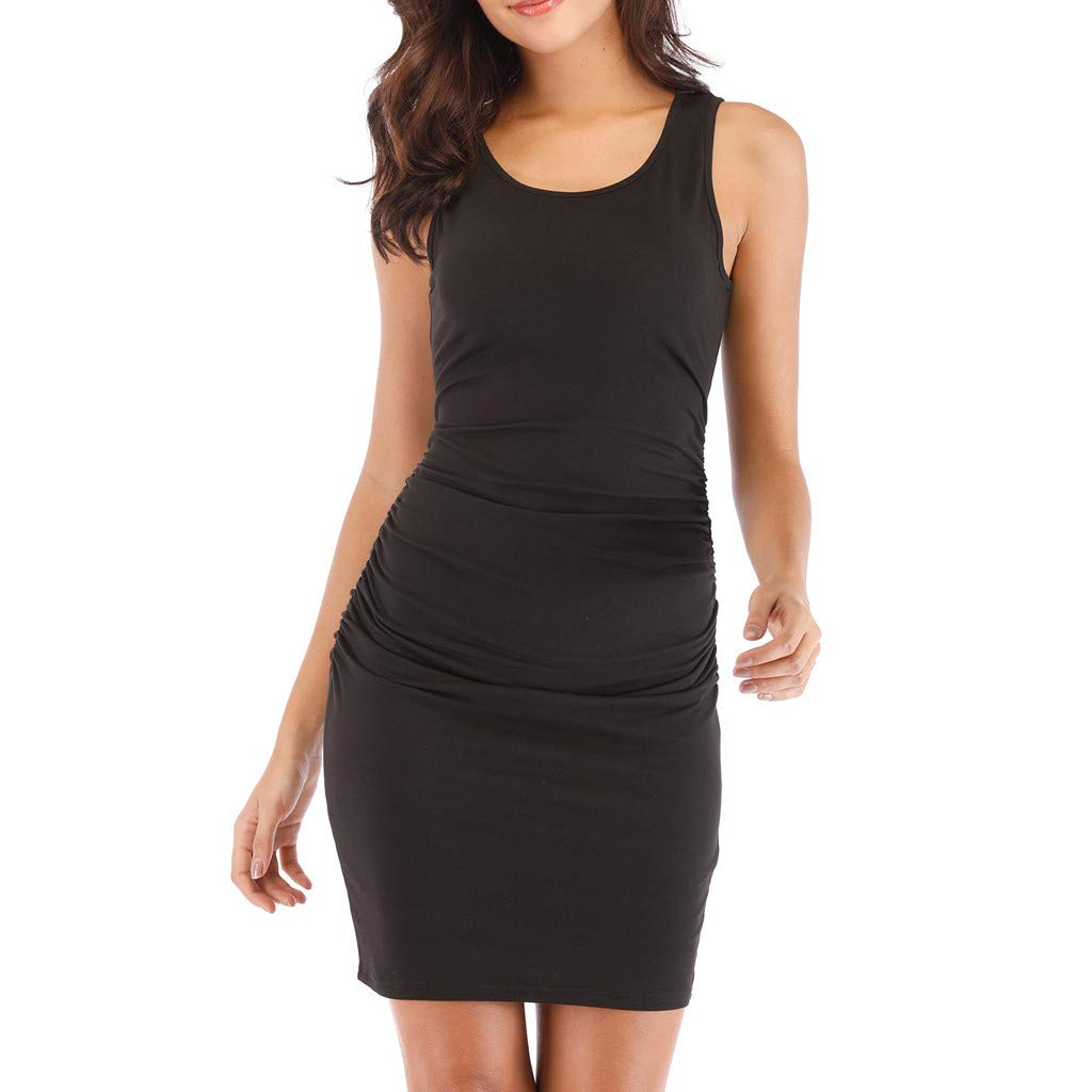 Kalinyer Women's Sexy Ruched Bodycon Dress Casual Solid Sleeveless Round Neck Knee Length Tank Mini Party Club Dress Black