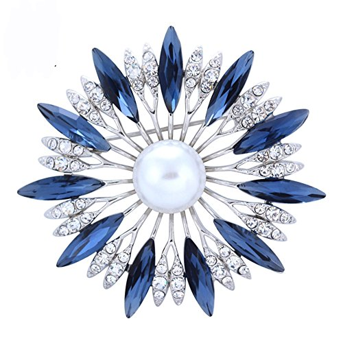 Qtalkie Blue Romantic Crystal Sunflower Brooch Pins with Beads for Unisex for Women&Men (Sunflower Brooch Crystal)
