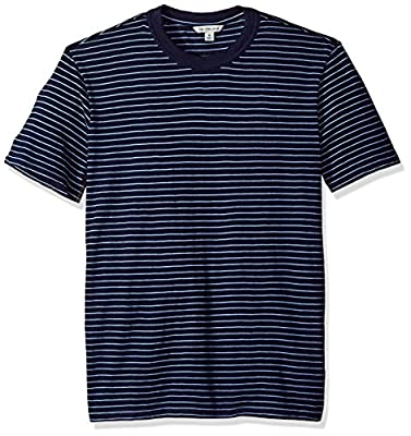 Calvin Klein Men's Short Sleeve T-Shirt Crew Neck with True Indigo Stripe