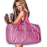 Victoria's Secret Pink Stripe Canvas Duffle Gym Beach Weekender Bag For Sale